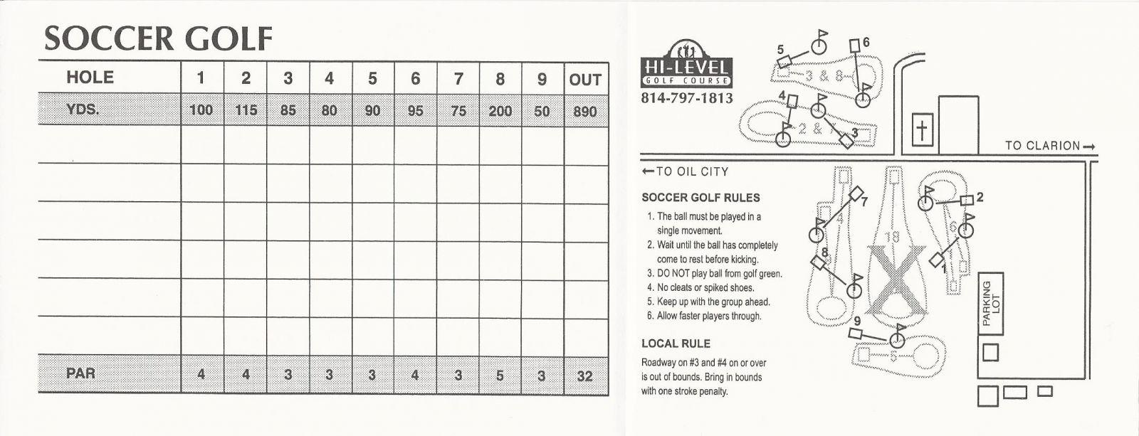FootGolf Score Card